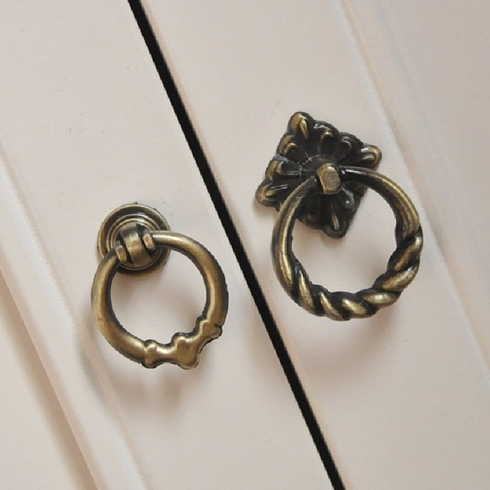 Tinksky Vintage Retro Style Kitchen Cabinet Cupboard Dresser Door Drawer Ring Pull Handles Knobs - Size L-pack of 6 (Antique Brass) 5