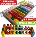 Childrens Wooden Musical Instrument - Xylophone Glockenspiel - presented in wooden box and Song Sheets with 5 tunes, 18 months+ from Bee Smart