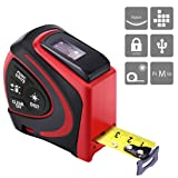 VIVOHOME 2 in 1 Digital USB Rechargeable Laser Tape Measure Tool with OLED Backlit Display 16 Ft Laser and 100 Ft Tape Distance Meter