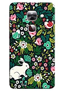 Omnam Rabbit And Bird Playing Between Flowers Printed Designer Back Cover Case For LeTv Le2