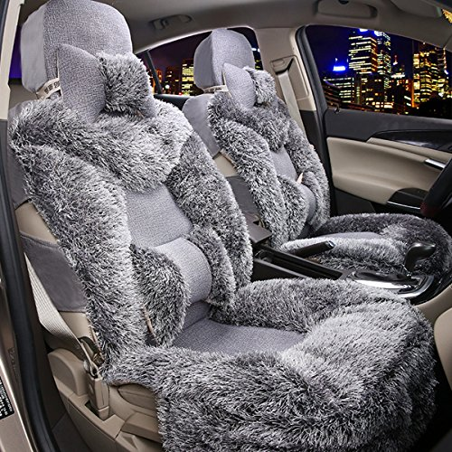 Oroyal Universal Fit Car Seat Cover Set Winter Cold Season Fur Design (Universal Fit For Most Cars, SUV, Trucks or Vans) (Grey-12429381) (06 Ford Seat Covers compare prices)