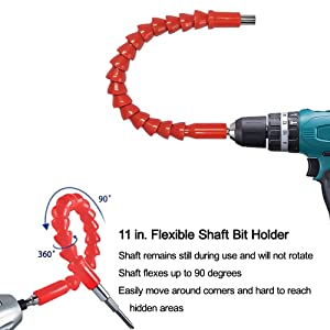 Enhanced Edition Flexible Extension Screwdriver Drill Bit Kit Adaptor w/Magnetic Connect Drive Shaft Tip | 1/4 in Power drill adapter + 1/4 in Extender Extend Drill Bit+Drill Bit Recept (Color: Red, Tamaño: 295mm)
