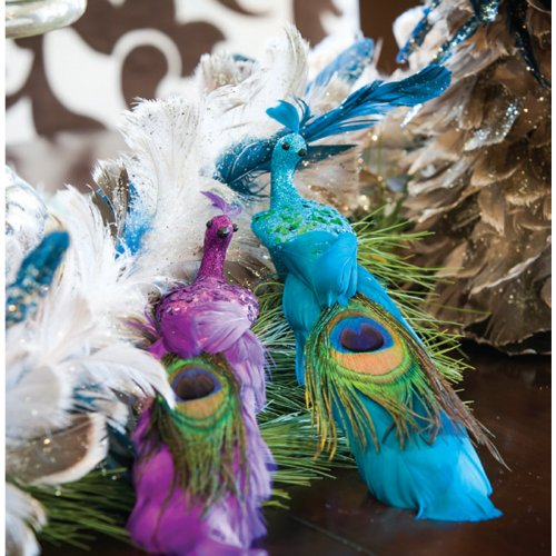 Funky Peacock with Feather Tail Ornaments, 2 Assorted