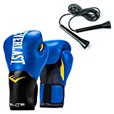 Everlast Elite Pro Style 14 Oz Leather Training Boxing Gloves & 11 Ft Jump Rope (Color: Blue)