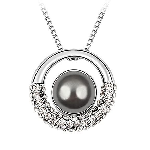 Le Premium® Moon in Galaxy Shell Pearl Pendant Necklace With 12mm Dark Grey Pearl Rhodium Plated -- $13.95