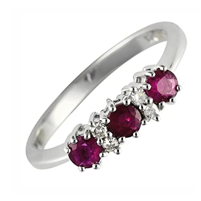 Ivy Gems 9ct White Gold Ruby and Diamond Trilogy Ring