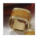 Gold Napkin Ring, Sparkling Square Design , 4 Piece Set