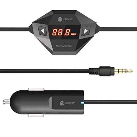 iClever IC-F27 In Car Universal Wireless FM Transmitter with USB Car Charger for Smartphone, MP3 MP4 and any Audio Player with 3.5mm Audio Jack including iPhone 5/5s/4/4s/Samsung S3 S4, HTC one, Motorola Droid X, Nokia Lumia 520/900/1020, iPod, iPod To...