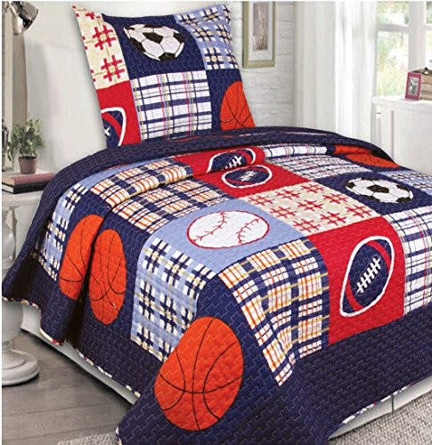 Mk Collection 2 Pc Bedspread Boys Sport Football Basketball Baseball Dark Blue New