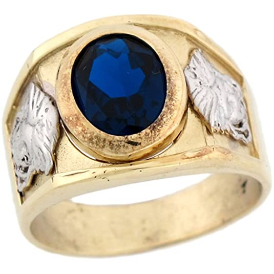 14ct Two Colour Gold Simulated Sapphire Birthstone Medusa Mens Ring