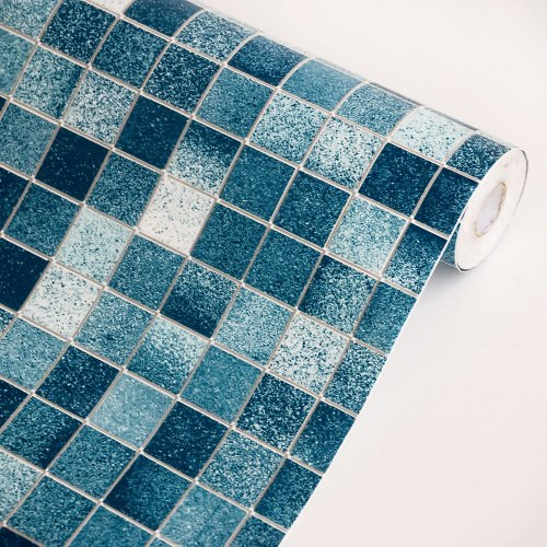 blue mosaic self adhesive wallpaper home decor roll