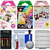 Essentials Bundle For Fujifilm Instax Mini 8 Instant Film Camera With 30 Candy/Rainbow/Shiny Star Prints + Battery & Charger + Cleaning Kit