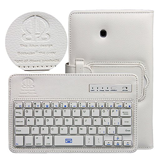 Boriyuan Portable Removable Detachable Abs Wireless Bluetooth Keyboard Carrying Case Flip Folding Pu Leather Protective Book Cover With Stand Holder Function For Samsung Galaxy Tab 3 7.0 Inch P3200 P3210 T211 T210 With Free Screen Protector And Stylus Tou