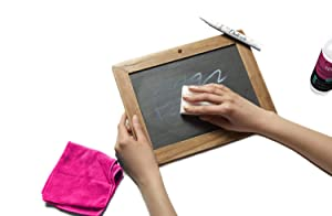 Chalkola Natural Chalkboard Cleaner Spray & Eraser Kit for Liquid Chalk Markers - Suitable for Whiteboard, Blackboard and Dry Erase Boards - Comes with White Chalk Pen