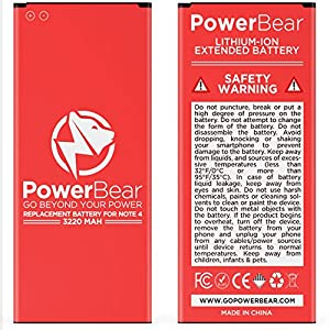 PowerBear® Note 4 Battery | 3220 mAh Li-Ion Battery for the Samsung Galaxy Note 4 [N910, N910U LTE, AT&T N910A, Verizon N910V, Sprint N910P, T-Mobile N910T] Note 4 Spare Battery [24 Month Warranty]