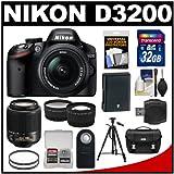 Nikon D3200 Digital SLR Camera & 18-55mm & 55-200mm DX AF-S Zoom Lens and Case with 32GB Card + Battery + Filters + Tripod + Tele/Wide Lens Kit