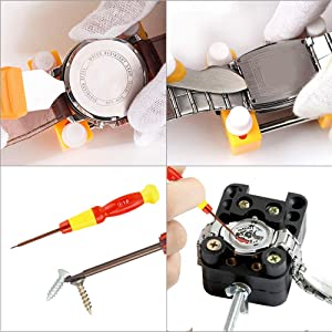 Watch Battery Replacement Tool Kit,Watch Back Case Remover and Watch Opener (Color: Yellow, Tamaño: Watch Battery Replacement Tool Kit)