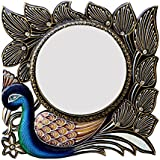 Divraya Wood Peacock Wall Mirror (30.48 Cm X 4 Cm X 30.48 Cm, DA148)