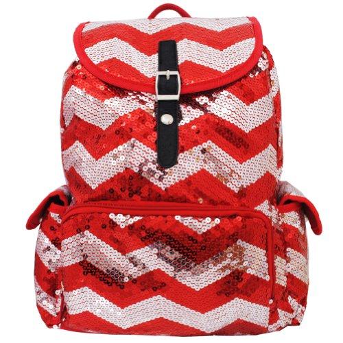 Sequin Chevron Pattern Drawstring Backpack Bookbag (Red)