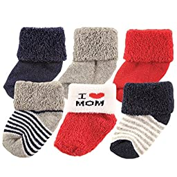 Luvable Friends Newborn Baby Socks 6 Pack, 0-3 Months, Navy Mom