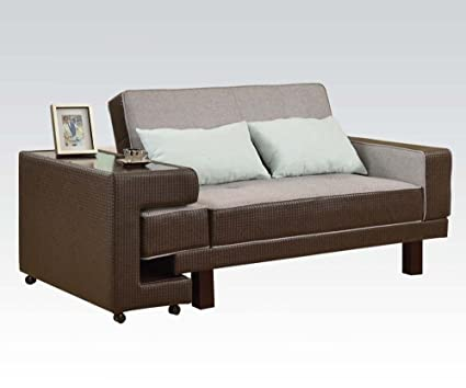 Acme 57124 Modern Gray Linen & Brown PU Adjustable Sectional Sofa & Side Table