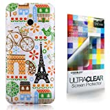 CaseiLike® Paris Holiday 3903 Multi Pattern, Shell Skin Gel Snap-on case back cover for HTC One mini M4 with Screen Protector