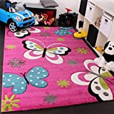 Kids' Rug - Butterfly Design - Green Red Grey Black Cream Magenta, Size:80x150 cm