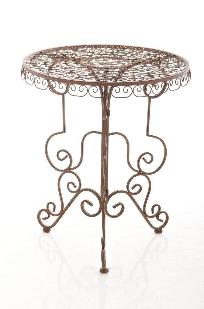 CLP handgefertigter runder Eisentisch MINORE in nostalgischem Design, Durchmesser Ø 61,5 cm (aus bis zu 2 Farben wählen) antik braun online bestellen