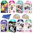 Fujifilm Instax Mini Film 8 Pack Bundle! Rainbow, Candy Pop, Stained Glass, Shiny Star, Disney Alice, Comic, Airmail, Stripe 10 X 8 = 80 Sheets Assort Set + withC Microfiber + Stickers 40 pcs.