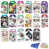 Fujifilm Instax Mini Instant Film 17 SET , Sky Blue , Black , Single , Monochrome , Candy pop , Stained Glass , Shiny Star , Rainbow , Comic , Airmail , Stripe , 6 Character + Cleaning Cloth + Sticker