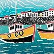 "J2sea3P  J2 Studio Design   Seaside Scenes range   Fishing Boats   high quality fine art print   12"" x 12"" size   180 gsm matt paper   signed by artist"
