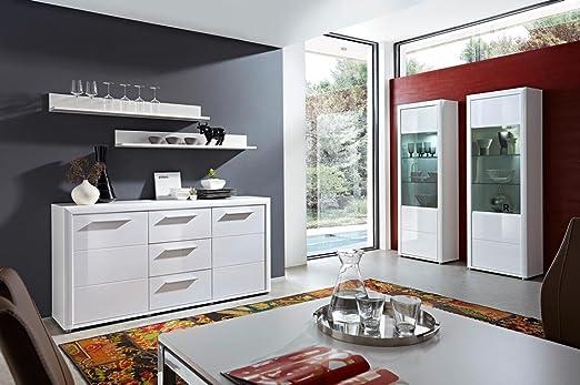 Speisezimmer, Esszimmer komplett, Hochglanz weiß mit LED-Beleuchtung, 2x Wandboard B: 130 cm, Sideboard B: 180 cm, 2x Vitrine B: 68 cm