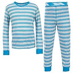 Trespass Kids Boys Calum Thermal Base Layer Set (Top & Bottoms) (5/6 Years) (Blue Stripe)