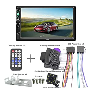 SPEEDTON 7 Inch Double Din Capacitive Touch Screen Car Stereo Audio Video MP5 Player Car Radio with Bluetooth Mirrorlink FM Radio Backup Camera/USB/SD/AUX Input (Color: SWM-S7)