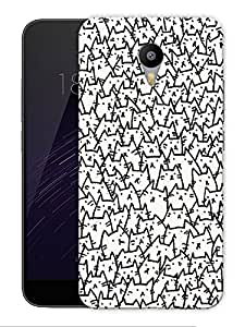 """Lots Of Cats Outlined Cute Printed Designer Mobile Back Cover For """"Google Infocus M2 Note"""" By Humor Gang (3D, Matte Finish, Premium Quality, Protective Snap On Slim Hard Phone Case, Multi Color)"""