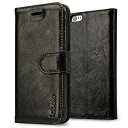 iPhone 6S Plus Wallet Case, Labato Genuine Leather Folio Flip Case Cover Magnetic Stand Function with Card Slots/ Cash Compartment for Apple iPhone 6 Plus/ 6S Plus 5.5\