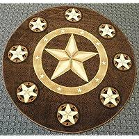Texas Round Rug 5 Feet x 5 Feet Design Skinz # 78 Chocolate