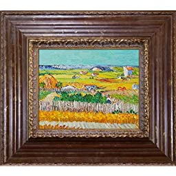 overstockArt Van Gogh The Harvest Painting with Vienna Wood Frame, Red and Gold Leaf Finish