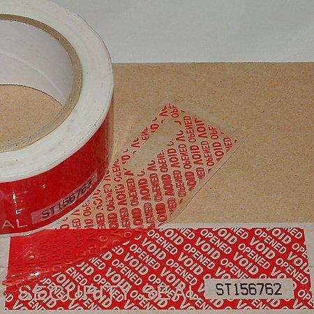 JVCC TEV-SN Tamper Evident Serial Number Carton Sealing Tape: 2 in. x 49 yds. (Red)