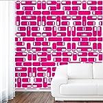 DeStudio Oval Square Tile Chalkboard Wall Decal, Size LARGE & Color : PINK