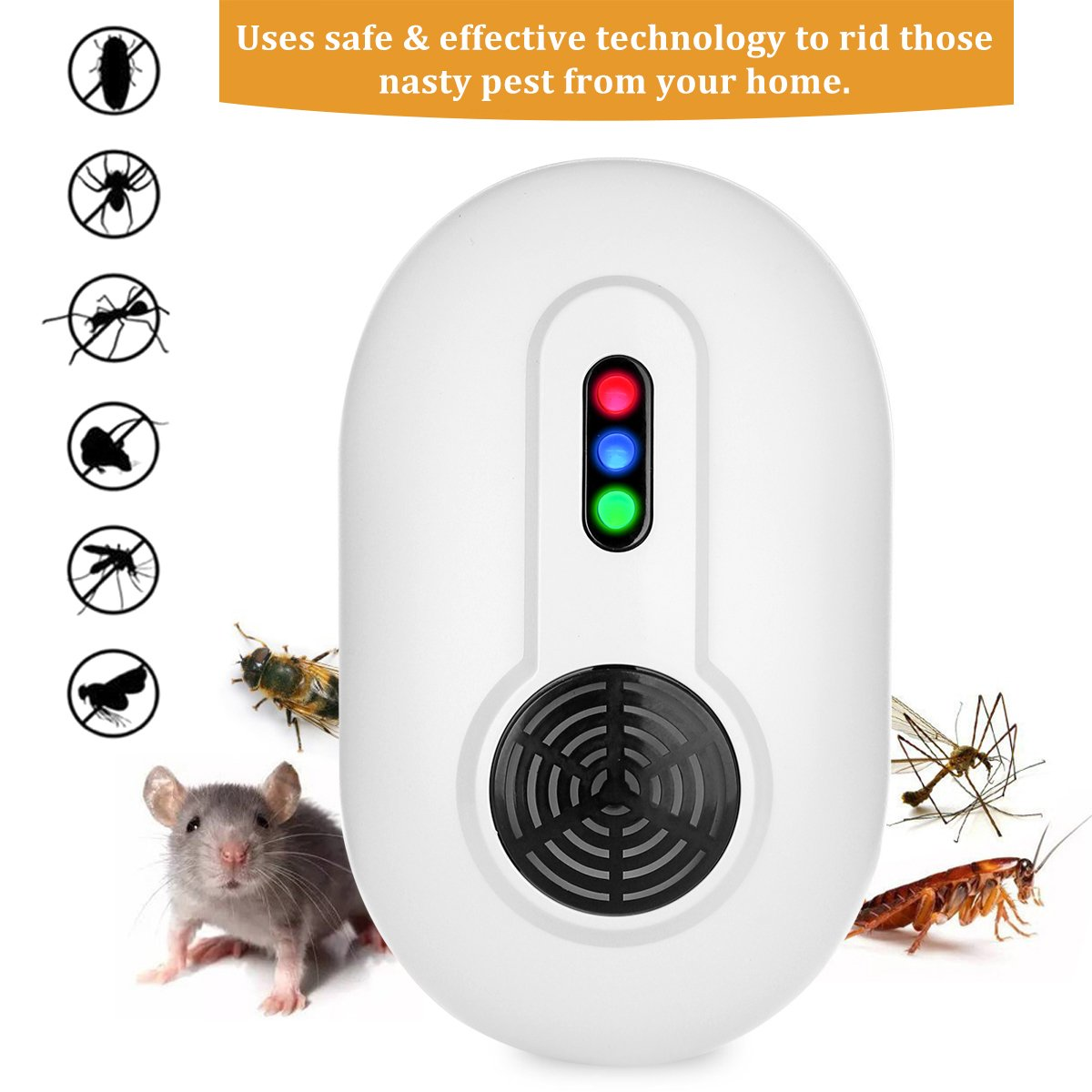 Ultrasonic Pest Repeller Triple Action Deep Repel Tech - Electronic Pest Control Plug In-Mouse Rat Repellent, Repeller for Roaches, Mosquitoes, Rats,Mice and other Rodent Pests- Indoor,Garden,