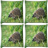 Snoogg Sitting At A Place Pack Of 4 Digitally Printed Cushion Cover Pillows 14 X 14 Inch