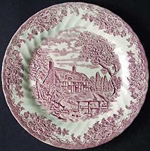 Churchill Made in England Brook Pattern Pink Dinner Plate