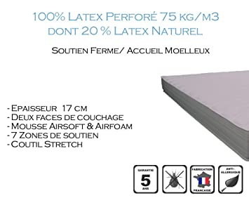 Armorel MAPR17080/200 Physiologic170 Relax Matelas Latex Perforé  Blanc 200 x 80 cm
