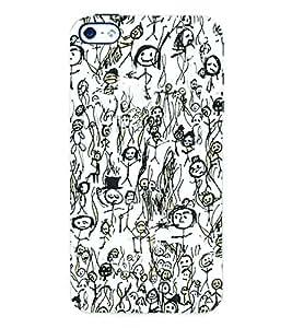 Fuson 3D Printed Sketching Designer Back Case Cover for Apple iPhone 4 - D946