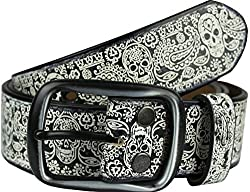 Heepliday Men's Colorful Halloween Style Leather Belt Medium 32-34 Black Buckle White Leather