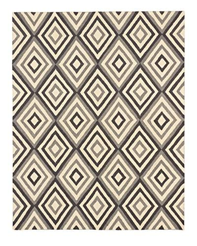 "Handmade Burst Wool Rug, Cream/Dark Grey, 7' 5"" x 9' 4"""