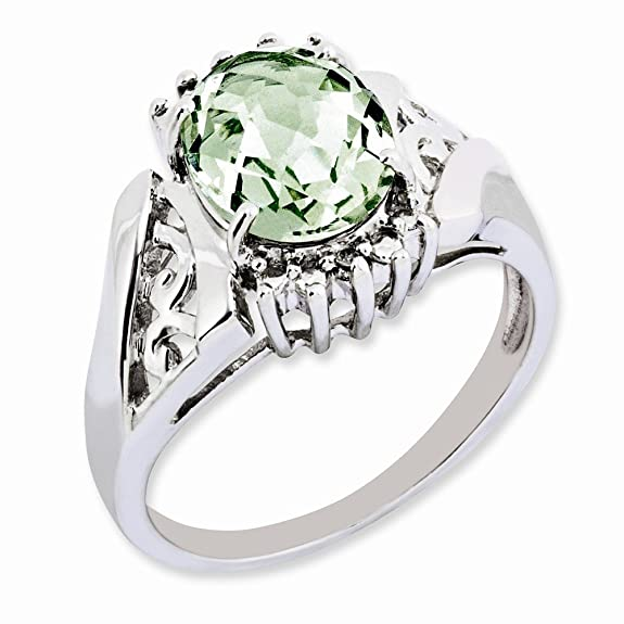 Sterling Silver Green Quartz & Diamond Ring