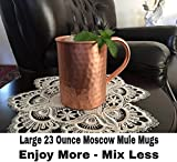23oz. Jumbo Moscow Mule Hammered Copper Mugs - Set of 2 - 100% Solid Copper - Keskov Authentic - Large -No Rivets - No Inner Lining - Dimpled Tall Handcrafted Mug
