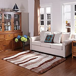 Ustide modern polyester carpet for living room for Living room rugs amazon
